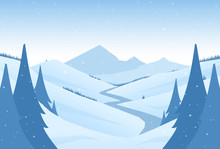 Vector Snowy Winter Mountains Landscape With Hills, River Or Road And Pines On Foreground.