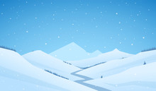 Vector Snowy Winter Mountains Landscape With Hills And River Or Road.