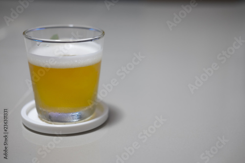Tuinposter Bier / Cider Tasty cold beer in clear glass