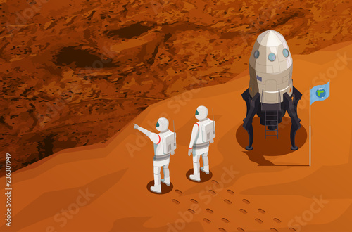 Vászonkép Mars Colonization Isometric Poster