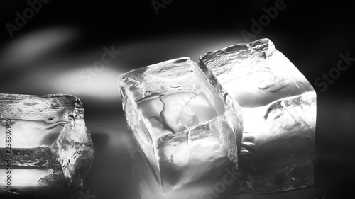 Photo  Pieces of crushed ice cubes on black background.