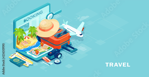 Fototapeta Vector of travel equipment and luggage on a mobile laptop touch screen obraz