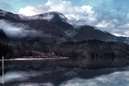Aluminium Prints mountain reflection in lake picture vintage style