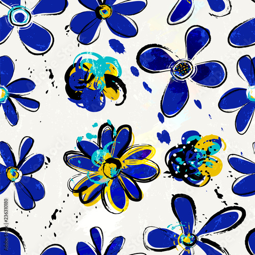 floral seamless background pattern, with paint strokes and splashes, spring flowers