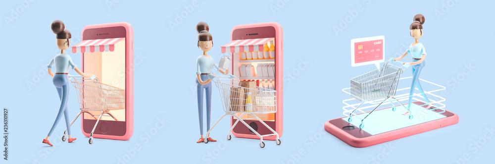 Fototapeta cartoon character with a shopping cart. set of 3d illustrations. internet shopping