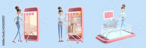 Fototapeta cartoon character with a shopping cart. set of 3d illustrations. internet shopping obraz