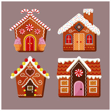 Set Of Merry Christmas Gingerbread House