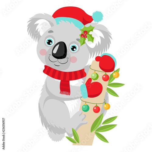 Fototapeta premium Śmieszne Koala Boże Narodzenie wektor. Cute Animal Cartoon Character Wakacje Wektor Ilustracja Na Białym Tle. Koala W Santa Kapelusz Siedzi Na Drzewie Eukaliptusowym.