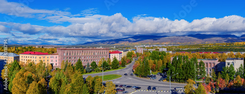 Autumn panoramic view of the city of Apatity Wallpaper Mural