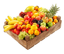 WOODEN BOX FILLED WITH ASSORTED FRESH FRUIT