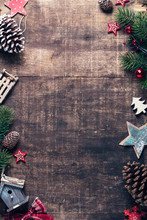Christmas Theme Background In Vintage Tone, Space For Text