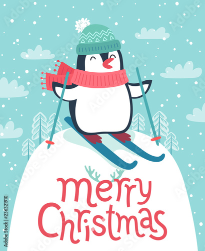Foto auf Gartenposter Weihnachten Cute penguin skiing down the hill. Merry Christmas card.