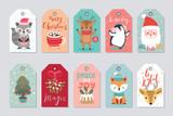 Fototapeta Fototapety na ścianę do pokoju dziecięcego - Christmas gift tags set with cute characters.