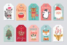 Christmas Gift Tags Set With C...