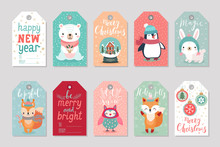 Christmas Gift Tags Set With Cute Characters,