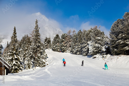 Skiers on the slope. Winter Slovakia