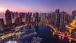 Dubai marina harbor panorama from night to day transition timelapse