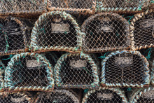 Closeup Old Stacked Traps For Lobster And Crab Fishing, Dingle, Ireland
