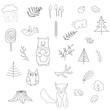Scandinavian forest set of elements.