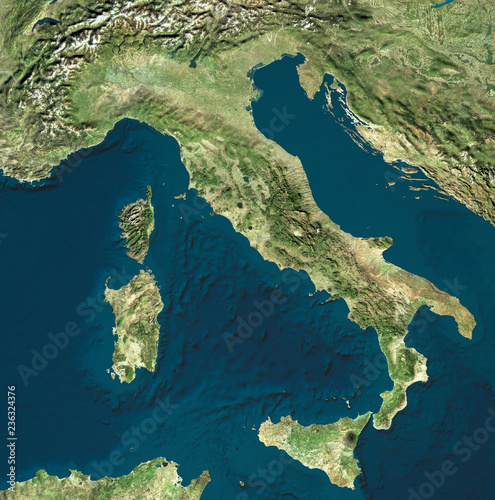 Vista satellitare dell'Italia. Cartina fisica italiana, rilievi pianure e mari. Mar Mediterraneo. Mappa. 3d rendering