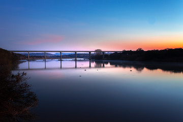 Bridge over the Orange River at sunrise, South Africa