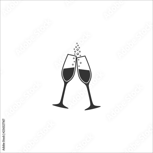 Fotomural Two champagne glasses with bubbles vector icon