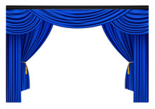 Blue Luxury Curtains And Draperies On White Background