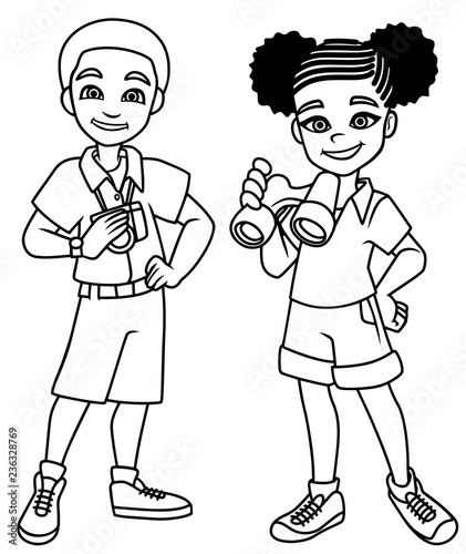 Fotografering Cartoon line art illustration of 2 happy young explorers ready for their next adventure and isolated on white background