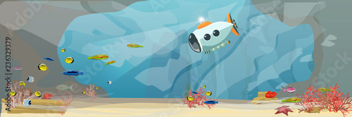 Obraz na plátne A submarine descends on a tropical sea to explore