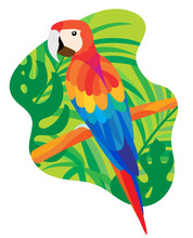 А Bright Tropical Parrot Macaw From South America, Which Sits On A Branch Among Tropical Leaves