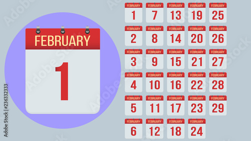 February 2019 Calendar 4 Times A Month Everyday February. Flat daily calendar icon set isolated on gray background