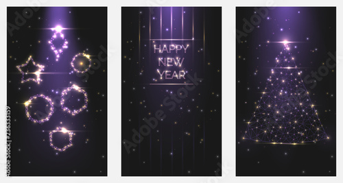 Fototapeta Vector illustration Happy New Year poster invitations. Set of Christmas trees and toys frames of bright light from particles symbol of holiday celebration. A4 banner Low polygonal mesh art night sky obraz na płótnie