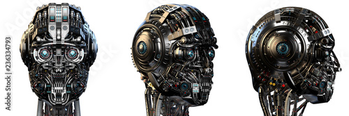 Robot head or very detailed cyborg face Canvas Print