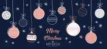 Set Of Hand Drawn Christmas Baubles. Decoration Isolated Modern Elements. Greeting Card Color Rose Gold, White And Background Navy Blue. Doodles And Sketches Vector Illustration.