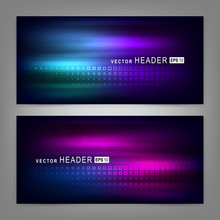 Abstract Colorful Dynamic Elements, Shiny Space. Website Header Or Banner Set. Vector Illustration EPS10