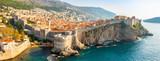 Fototapeta Kamienie - View from Fort Lovrijenac to Dubrovnik Old town in Croatia at sunset light
