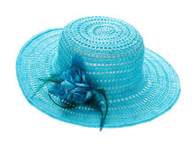 Woman`s Summer Blue Hat. Crochet Hat.