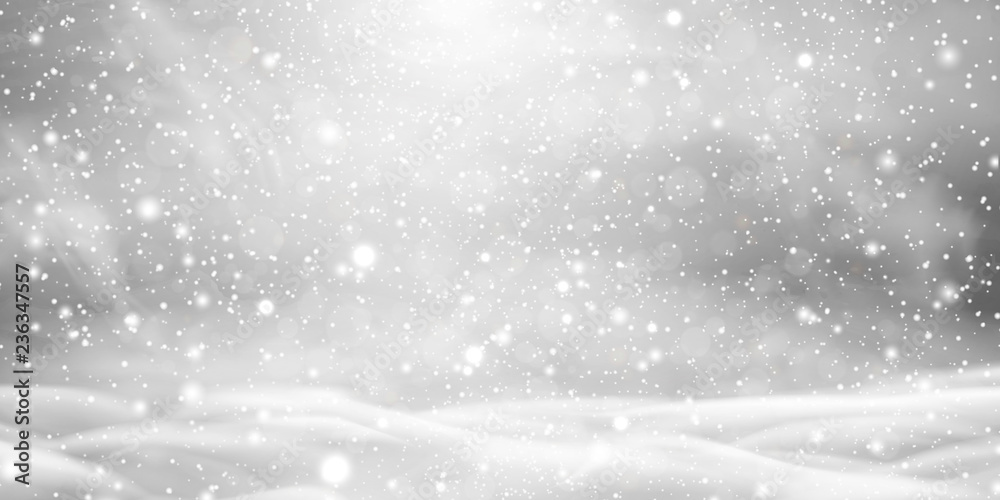 Fototapeta Falling Christmas beautiful snow with snowdrifts isolated on transparent background. Grey shiny poster with winter landscape, wind, blizzard. Snowflakes, snow background. Heavy snowfall, snowflakes.