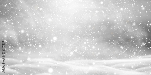 Fotografie, Tablou Falling Christmas beautiful snow with snowdrifts isolated on transparent background