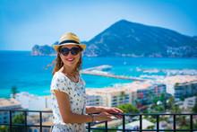 Happy Tourist Woman With Straw...
