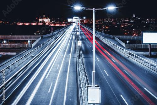 Foto op Plexiglas Nacht snelweg traffic in city at night