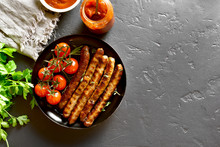 Fried Sausage And Cherry Tomatoes