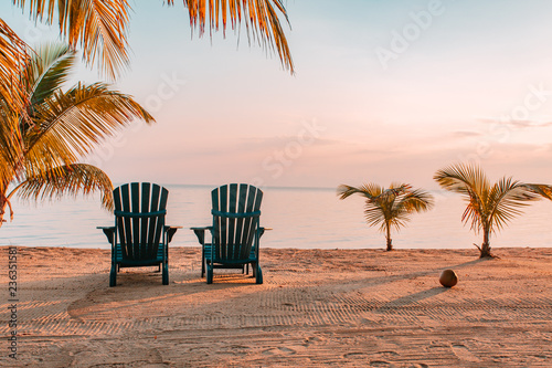 Deurstickers Strand Chairs on tropical beach