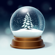 Crystal Ball, Snowball With Snowy Christmas Tree, Spruce Inside, Falling Snow, Realistic Holiday Decoration, Vector Illustration