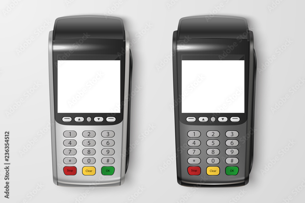 Fototapeta Vector Realistic 3d Payment Machine set. POS Terminal Closeup Isolated on Transparency Grid Background. Design Template of Bank Payment Terminal, Mockup. Processing NFC payments device. Top View