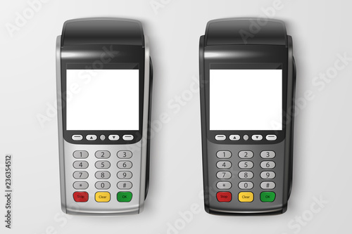 Vector Realistic 3d Payment Machine set Canvas Print