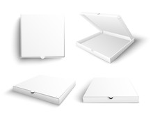 White Blank Pizza Box Mock Up Vector Illustration Set In Realistic Style Isolated On White Background - Empty Open And Closed Carton Packages For Pizzeria Or Restaurant Branding And Advertising.