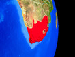 canvas print picture - South Africa on realistic model of planet Earth with country borders and very detailed planet surface.