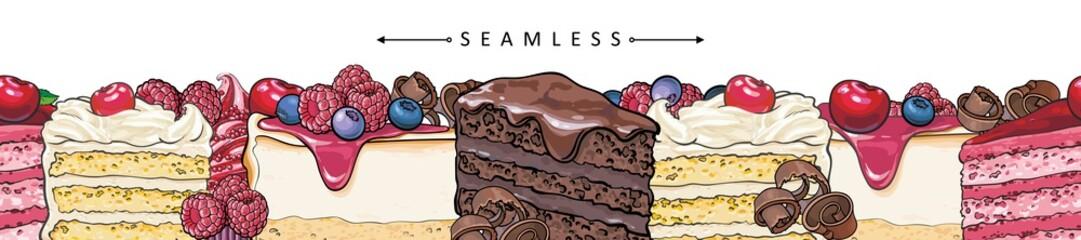Torta i torte vodoravni bešavni obrasci obruba u stilu skice - prekrasan okvir s ručno nacrtanim pekarskim proizvodima s voćem i bobicama. Vektorska ilustracija svijetlog podnožja sa slatkim desertima.