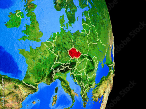 Photo  Czech republic on realistic model of planet Earth with country borders and very detailed planet surface